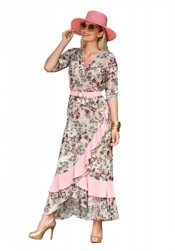 ref1866vestido alfaiataria rose com detalhe em renda guipuire