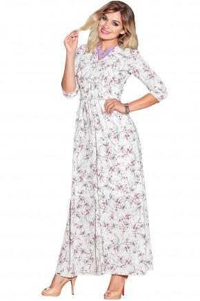 ref 1873 vestido crepe longo estampado com perolas na cintura