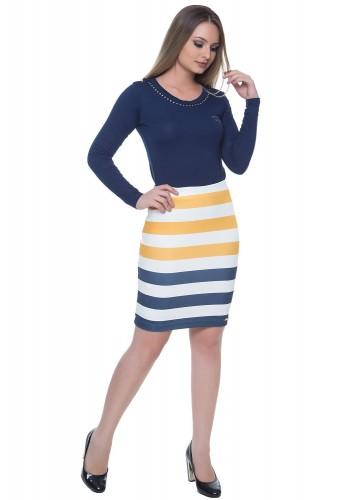 vestido listrado azul amarelo hapuk viaevangelica
