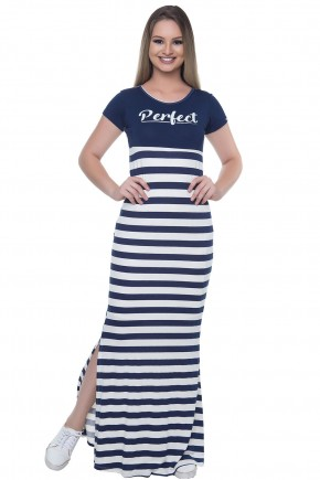 vestido longo listardo azul hapuk viaevangelica