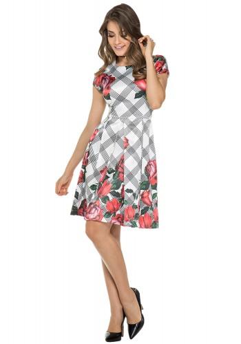 vestido estampa floral pregas jany pim viaevangelica