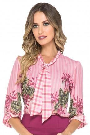 camisa listras rosa gola laco estampa floral jany pim viaevangelica