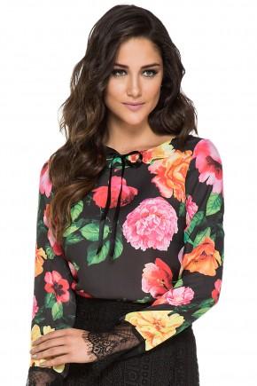 blusa estampa floral manga longa renda jany pim viaevangelica
