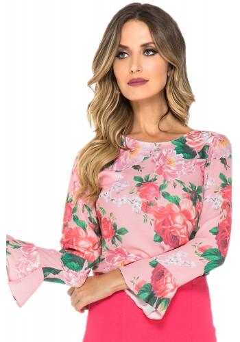 blusa estampa floral rosa manga longa sino