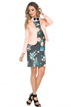 vestido tubinho floral gola alta laco com casaco jany pim viaevangelica