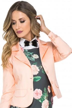 vestido tubinho floral gola alta laco com casaco jany pim viaevangelica detalhe