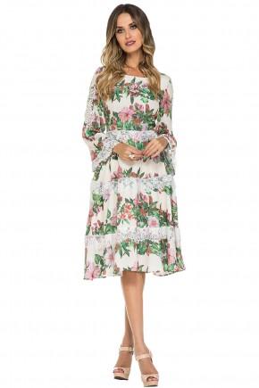 vestido estampa floral babados manga longa sino jany pim viaevangelica