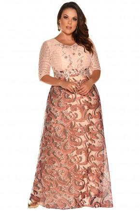 vestido longo plus size estampado renda festa fascinius viaevangelica