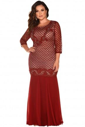 vestido longo plus size vermelho renda bordado festa fascinius viaevangelica