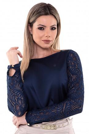 blusa manga longa renda azul marinho via tolentino viaevangelica