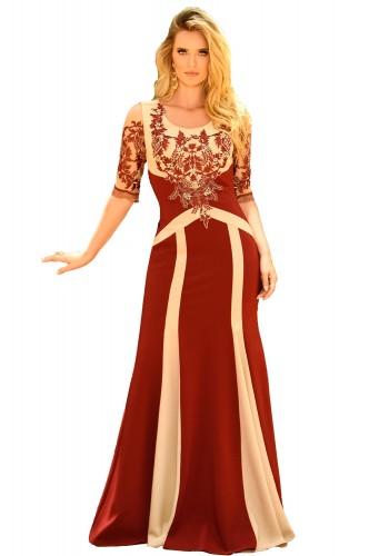 vestido longo festa vermelho bordado fascinius viaevangelica