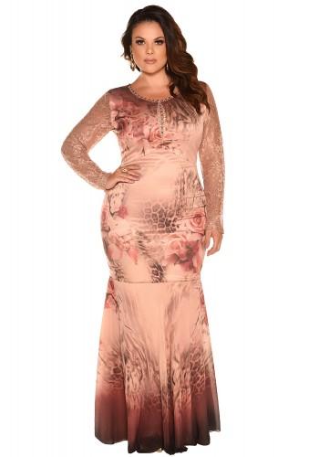 vestido longo festa plus size estampado renda bordado fascinius viaevangelica