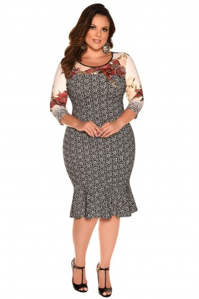 vestido plus size sino estampado floral fascinius viaevangelica