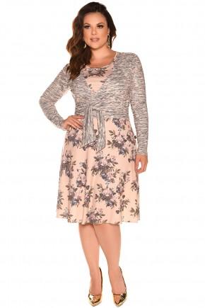 vestido plus size estampado floral bolero fascinius viaevangelica