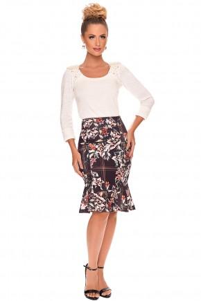 conjunto saia sino estampada floral blusa branca bordada zunna ribeiro viaevangelica