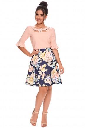 conjunto moda teen saia gode estampa floral blusa bordada manga sino zunna ribeiro viaevangelica