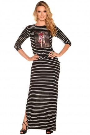 vestido longo listras estampa foto no fascinius viaevangelica