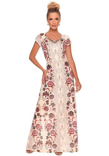vestido longo estampa floral bordado zunna ribeiro viaevangelica