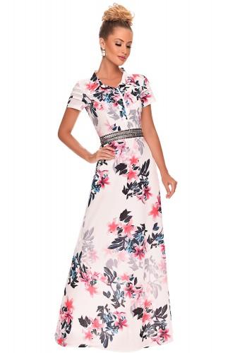 vestido longo estampa floral cinto bordado zunna ribeiro viaevangelica