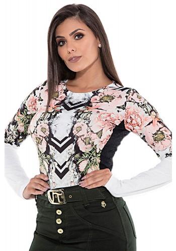 blusa manga longa estampa floral via tolentino viaevangelica frente