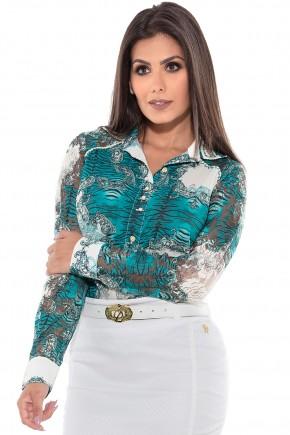 camisa estampada verde transparencia manga longa via tolentino frente detalhe
