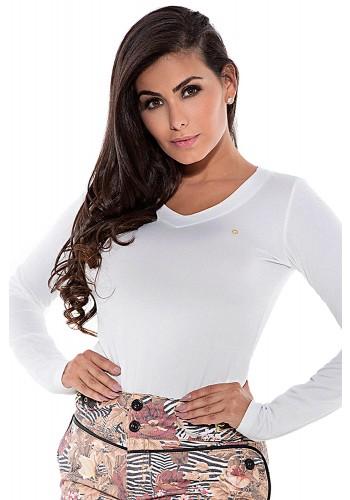 blusa manga longa branca via tolentino viaevangelica frente detalhe