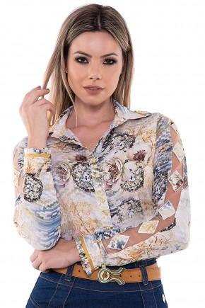 camisa estampa floral manga longa transparencia via tolentino viaevangelica frente detalhe
