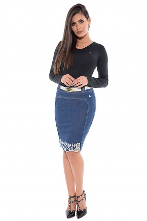 saia jeans lapis barra bordada via tolentino viaevangelica frente