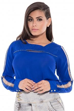 blusa azul bordada manga longa com tule via tolentino viaevangelica frente detalhe