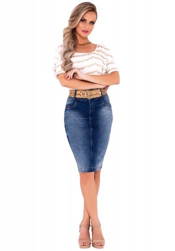 saia jeans mid com cinto laura rosa viaevangelica frente