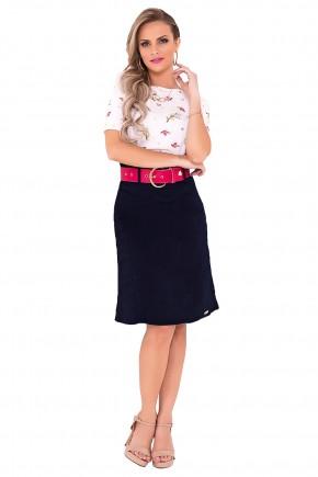 saia jeans escuro tradicional evase laura rosa viaevangelica frente