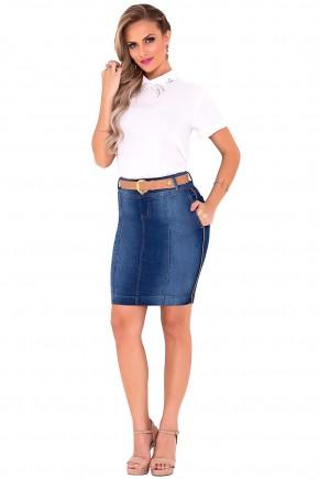 saia jeans tradicional com cinto detalhes laterais laura rosa viaevangelica frente