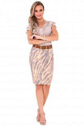 saia jeans estampa jacquard bege laura rosa viaevangelica frente