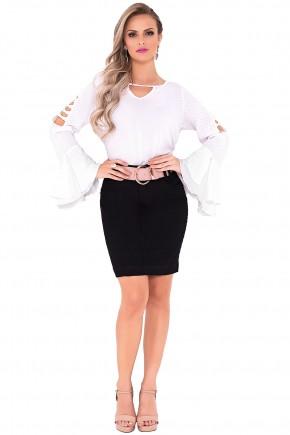 saia tradicional preta curta com cinto laura rosa viaevangelica frente