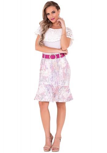 saia sino rosa estampa floral laura rosa viaevangelica frente