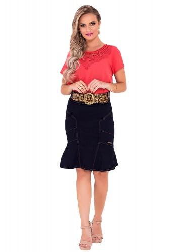 saia jeans escuro detalhe plissado laura rosa frente viaevangelica