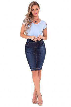 saia jeans azul escuro mid laura rosa viaevangelica frente