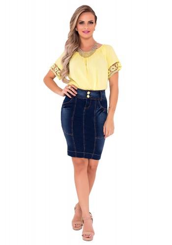 saia jeans tradicional recorte detalhado laura rosa viaevangelica frente