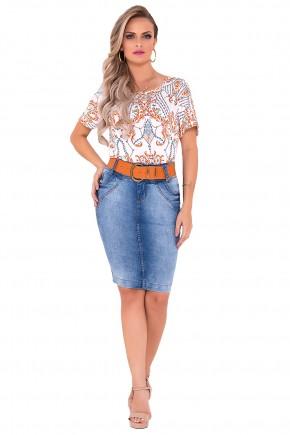 saia jeans azul claro tradicional laura rosa viaevangelica frente