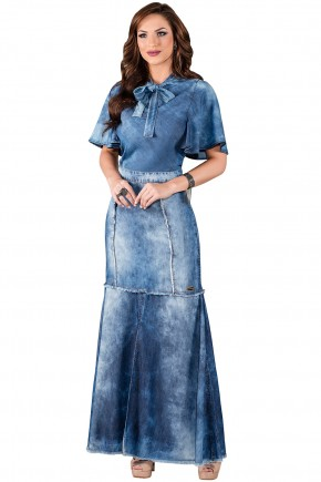 saia jeans longa barra desfiada titanium viaevangelica frente