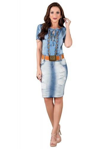 saia jeans tradicional destroyed azul claro titanium viaevangelica frente