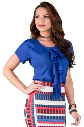 blusa manga curta azul babado no decote titanium viaevangelica frente