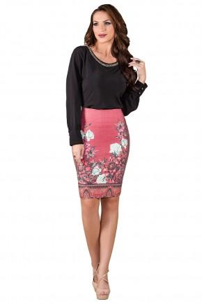 saia jeans rosa estampa floral laura rosa viaevangelica frente