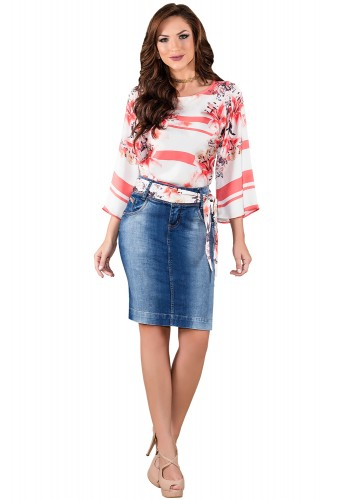saia jeans tradicional cinto fita titanium viaevangelica frente