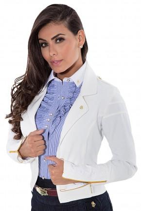 blazer off white detalhado em ziper e bordado via tolentino viaevangelica frente