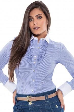 camisa listras manga longa babados via tolentino viaevangelica frente detalhe