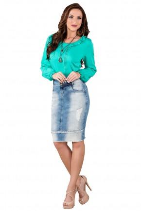 saia jeans azul claro destroyed titanium viaevangelica frente