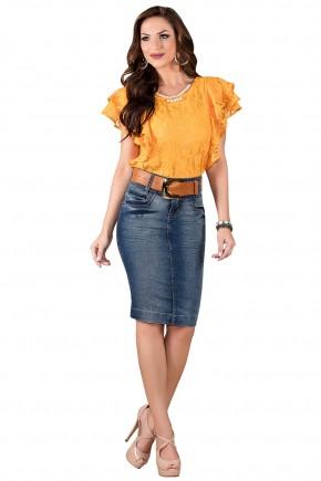 saia jeans tradicional lapis com cinto titanium viaevangelica frente
