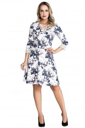 vestido estampa floral com renda no decote e mangas nitido jeans viaevangelica frente