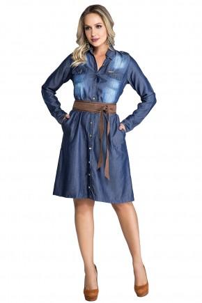 vestido jeans evase manga longa com cinto de pano nitido jeans viaevangelica frente